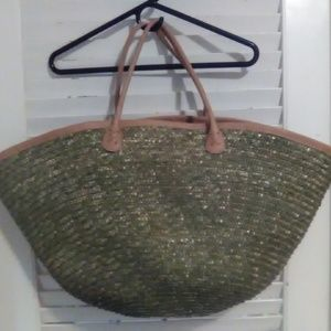 Gigantic Woven Wicker Beach Bag Olive Color